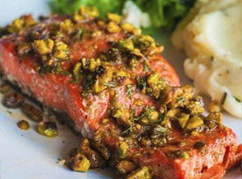 Grilled salmon with pistachio and brown sugar crust!